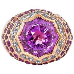6.7 Carat Amethyst, Blue Topaz Ring in 14 Karat Rose Gold