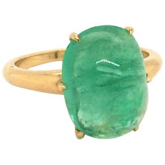 6.7 Carat Cabochon Emerald Claw Set Ring