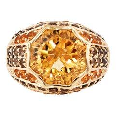 6.7 Carat Citrine and Smoky Quartz Ring in 14 Karat Yellow Gold