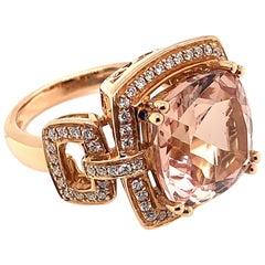 6.7 Carat Cushion Shaped Morganite Ring in 18 Karat Rose Gold with Diamonds