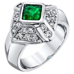 .67 Carat Emerald-Cut Emerald White Gold Diamond Pave Geometric Cocktail Ring