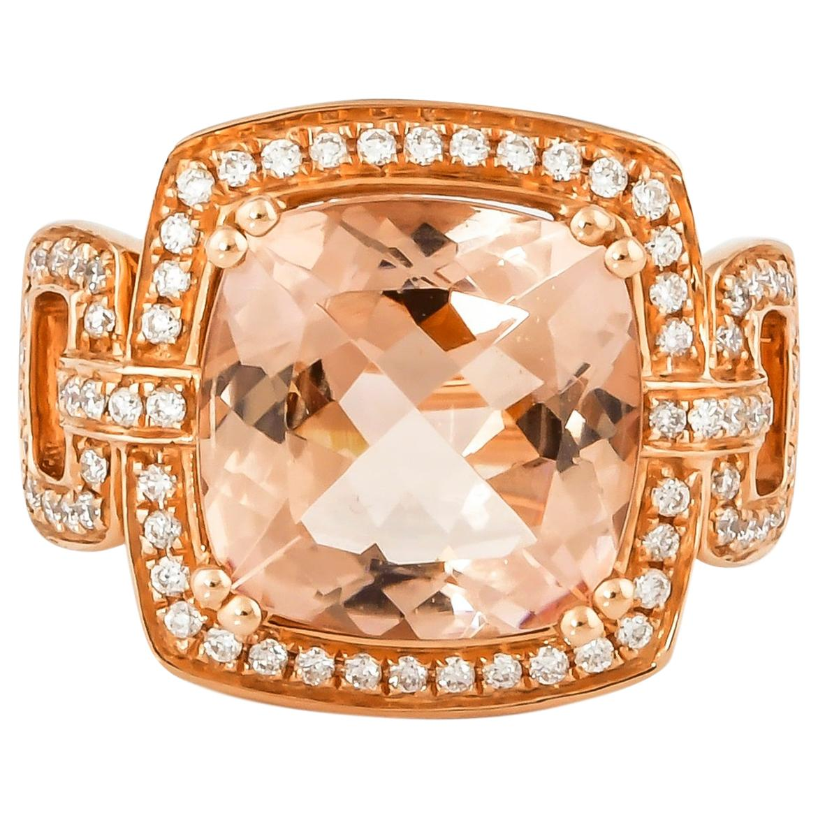 6.7 Carat Morganite and Diamond Ring in 18 Karat Rose Gold