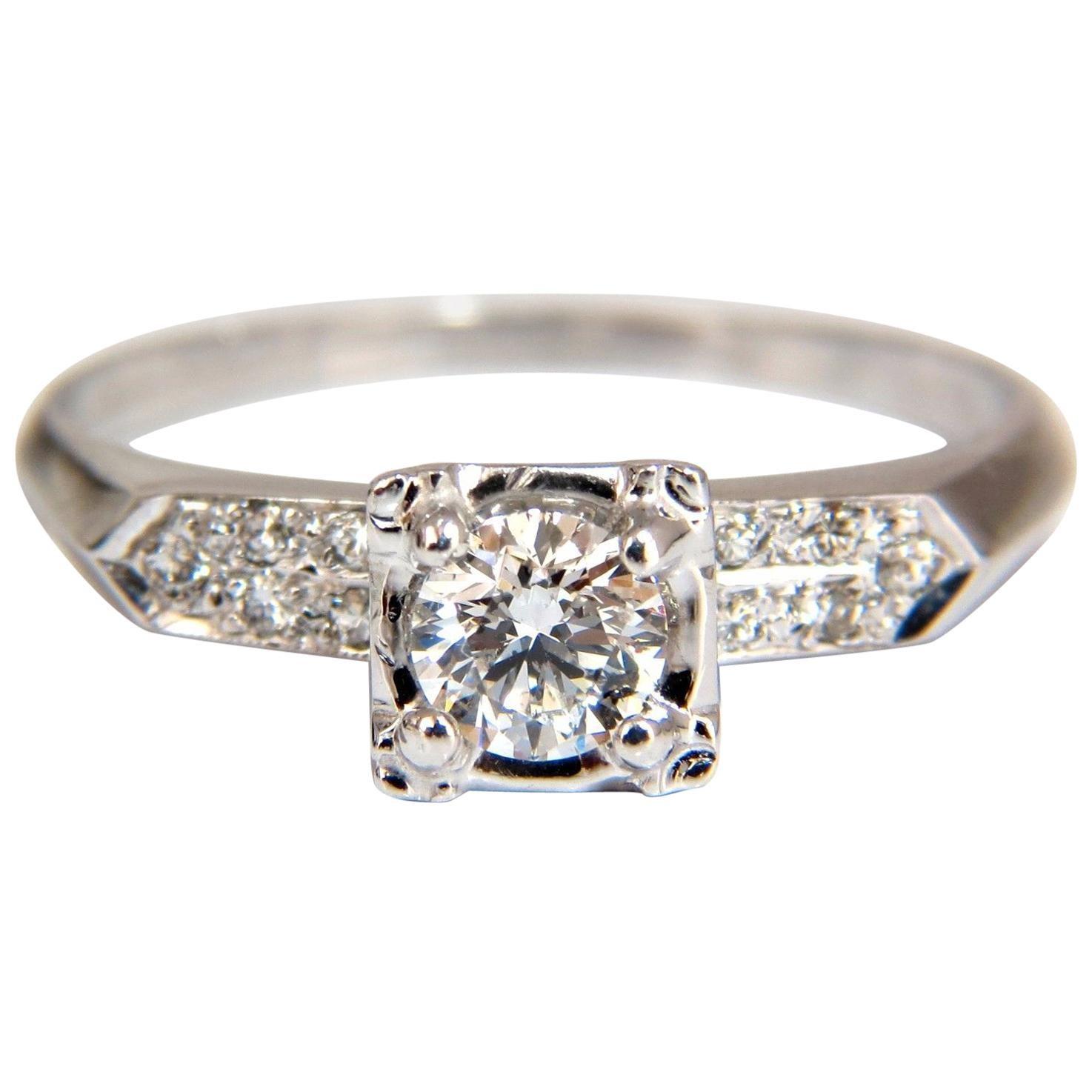 .67 Carat Natural Round Diamonds Vintage Raised Deck Ring 14 Karat