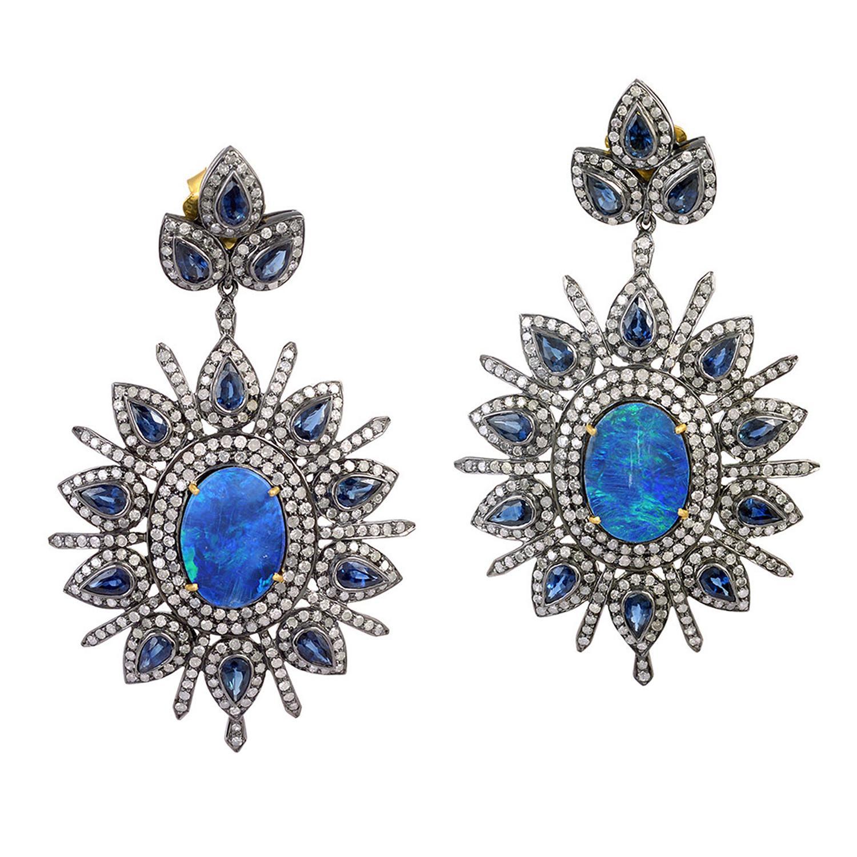 6.7 Carat Opal Sapphire Diamond Drop Earrings