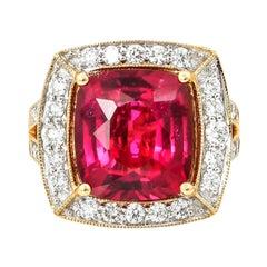 6.7 Carat Rubelite Tourmaline Ring with Diamond in 18 Karat Yellow Gold