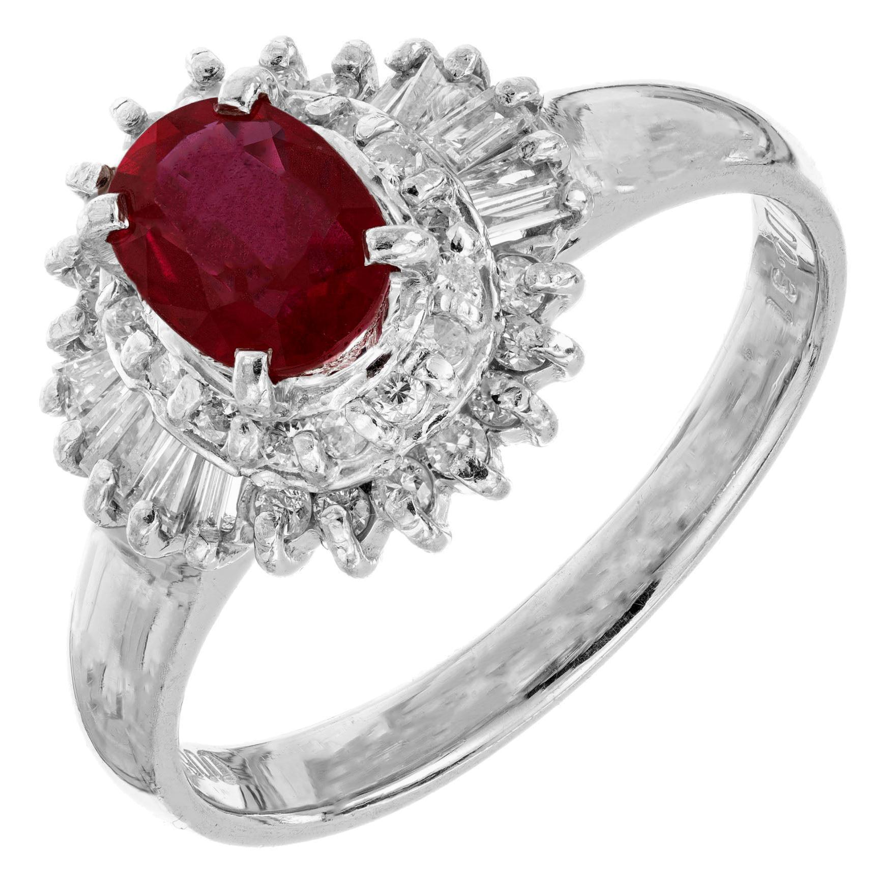 .67 Carat Ruby Diamond Halo Platinum Ballerina Engagement Ring