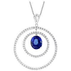 6.7 Carat Tanzanite & 2.5 Ct Diamond Two Circles Pendant/ Necklace 18 Karat Gold