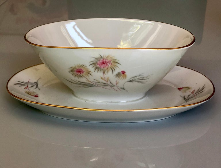 67-Piece Floral / Bird Pink Yellow Green Gold and Ivory Porcelain Dinner Service 4
