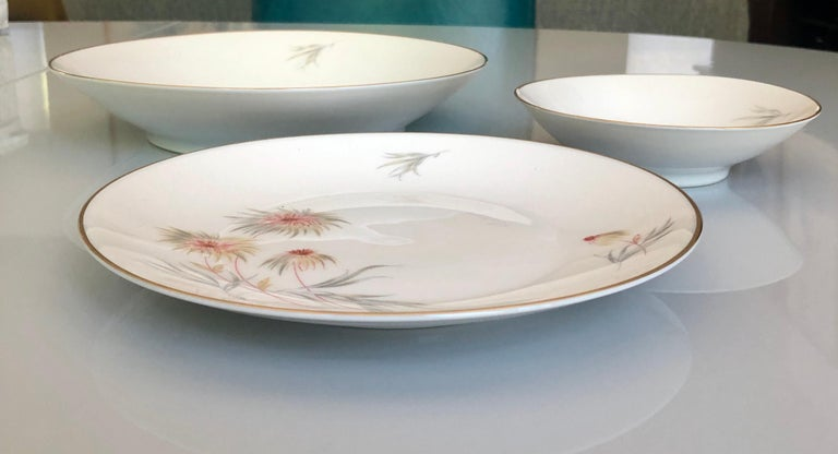 67-Piece Floral / Bird Pink Yellow Green Gold and Ivory Porcelain Dinner Service 7