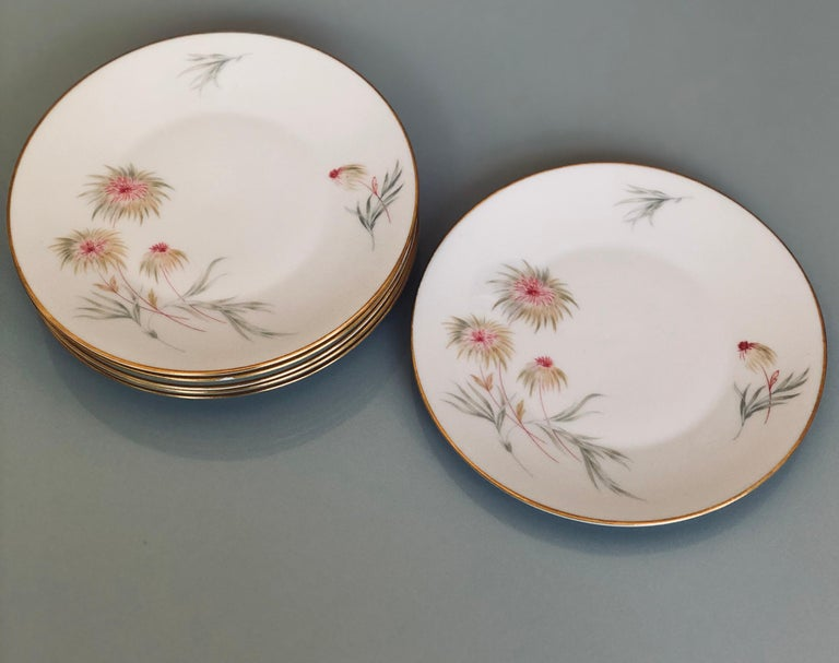 67-Piece Floral / Bird Pink Yellow Green Gold and Ivory Porcelain Dinner Service 8