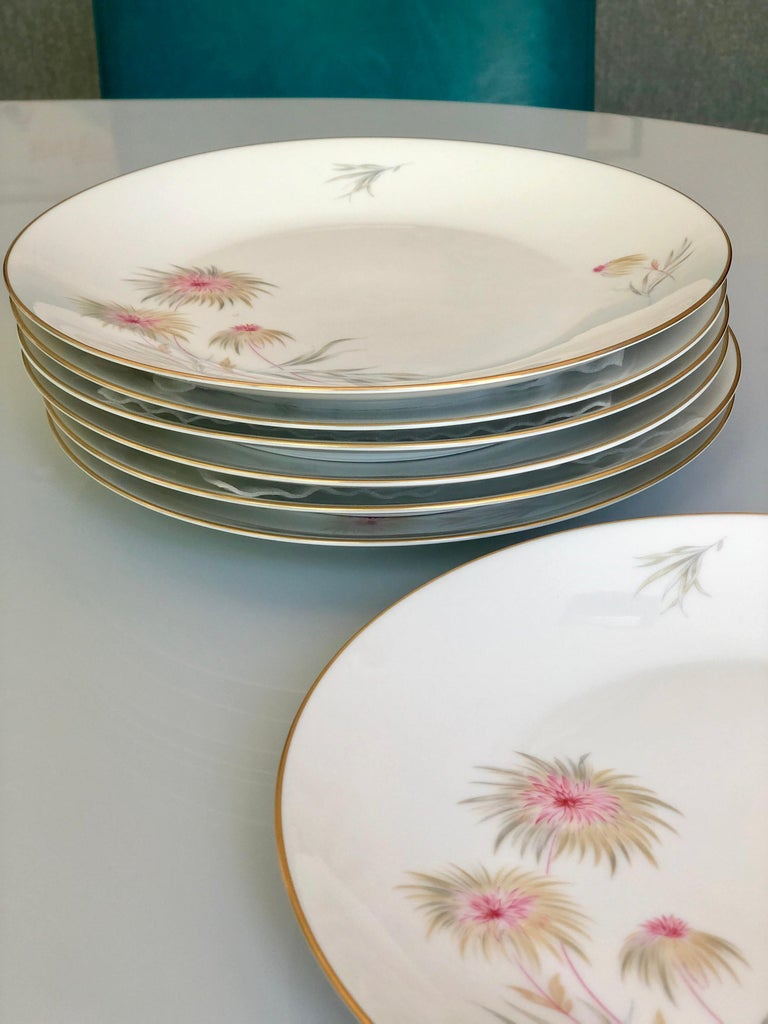67-Piece Floral / Bird Pink Yellow Green Gold and Ivory Porcelain Dinner Service 9