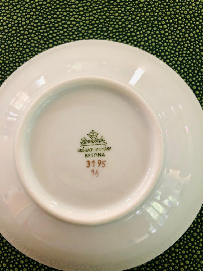 67-Piece Floral / Bird Pink Yellow Green Gold and Ivory Porcelain Dinner Service 10