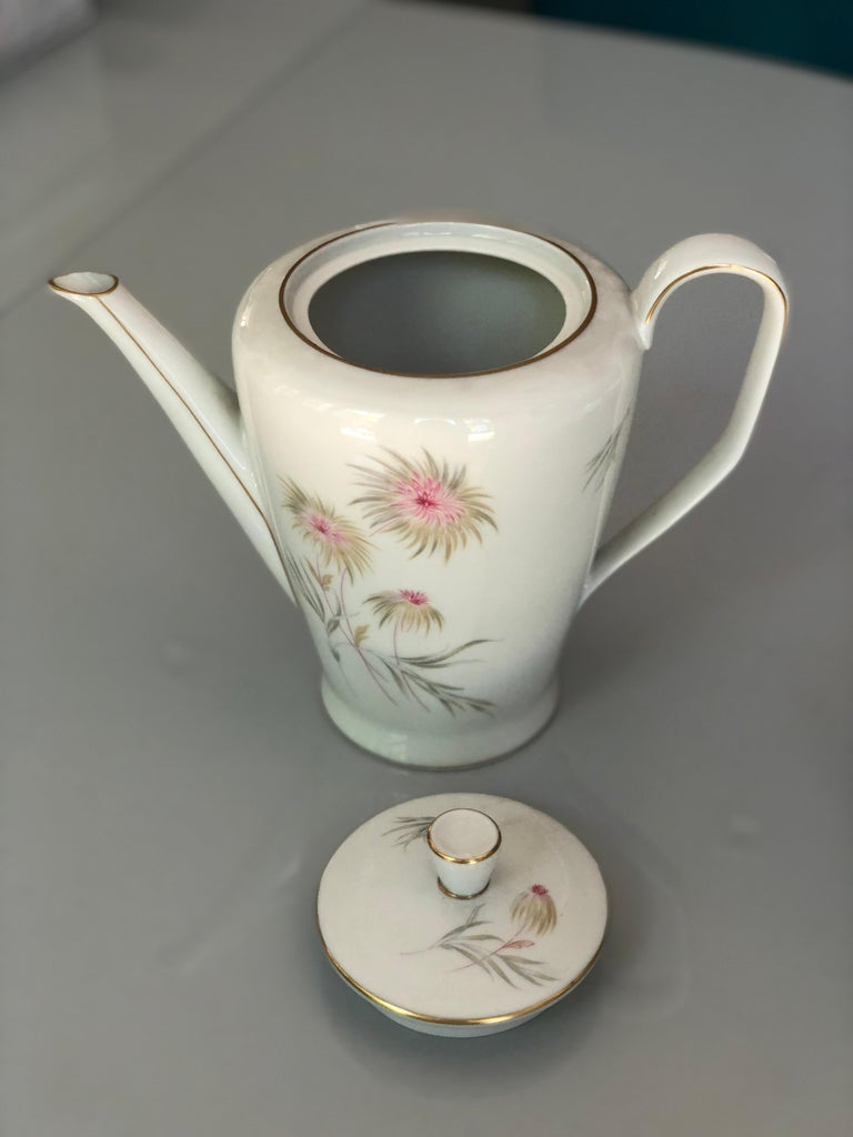Mid-Century Modern 67-Piece Floral / Bird Pink Yellow Green Gold and Ivory Porcelain Dinner Service