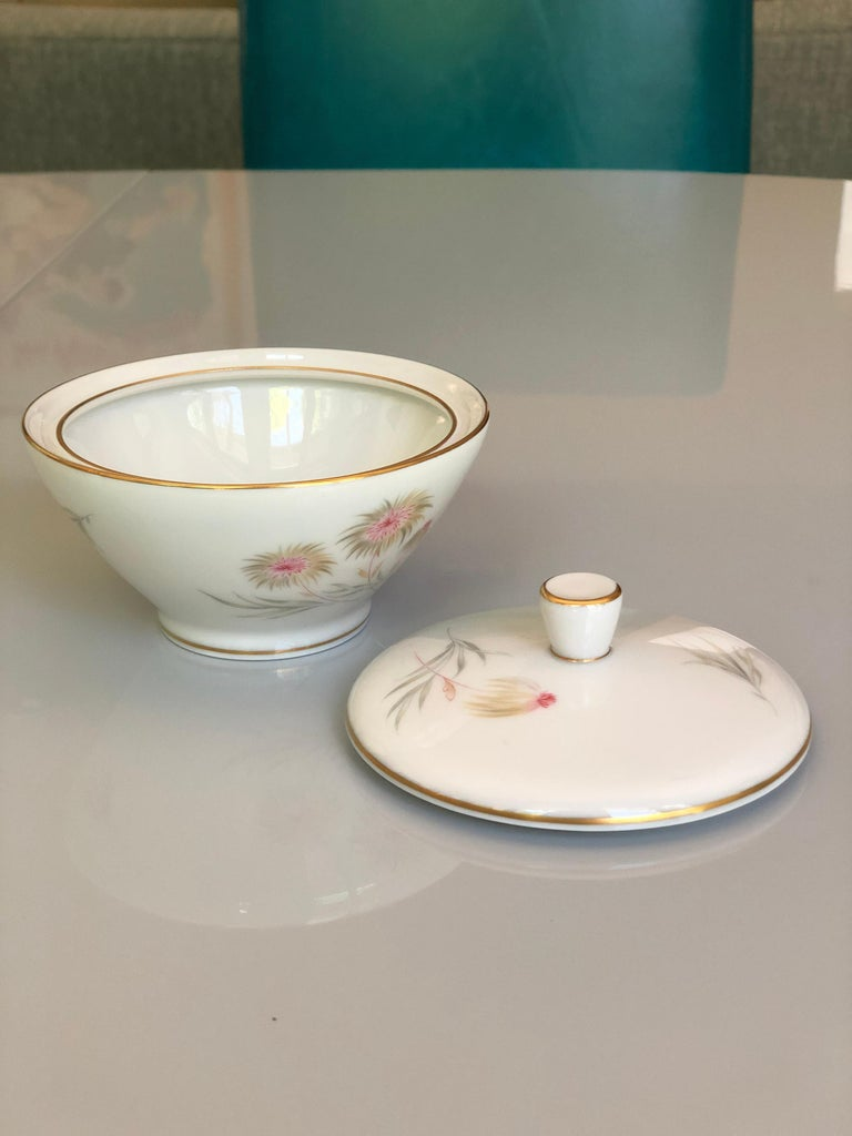 20th Century 67-Piece Floral / Bird Pink Yellow Green Gold and Ivory Porcelain Dinner Service