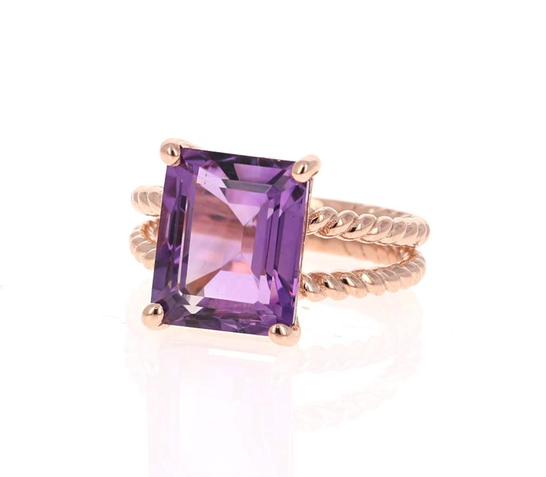 Modern 6.70 Carat Emerald Cut Amethyst Rose Gold Solitaire Ring For Sale