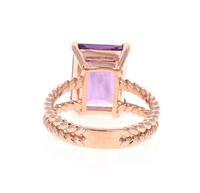 6.70 Carat Emerald Cut Amethyst Rose Gold Solitaire Ring In New Condition For Sale In San Dimas, CA