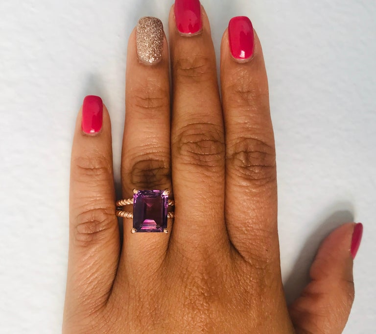 Women's 6.70 Carat Emerald Cut Amethyst Rose Gold Solitaire Ring For Sale