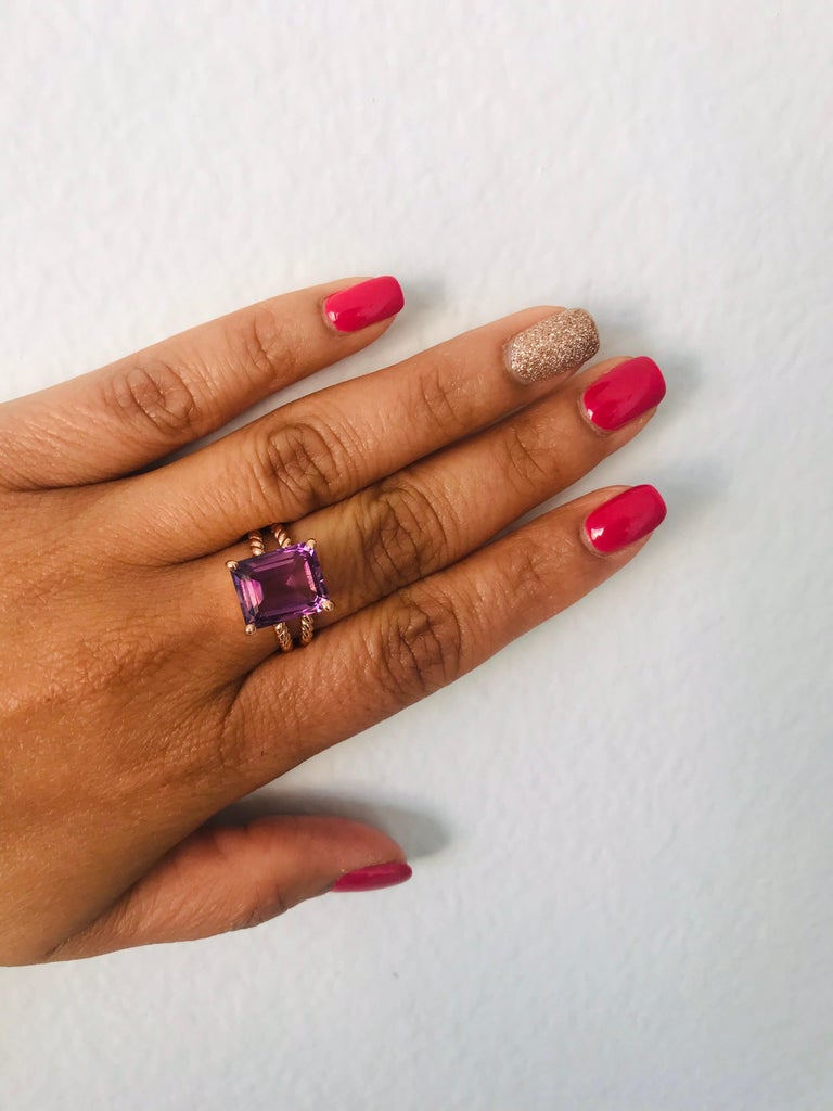 6.70 Carat Emerald Cut Amethyst Rose Gold Solitaire Ring For Sale 1