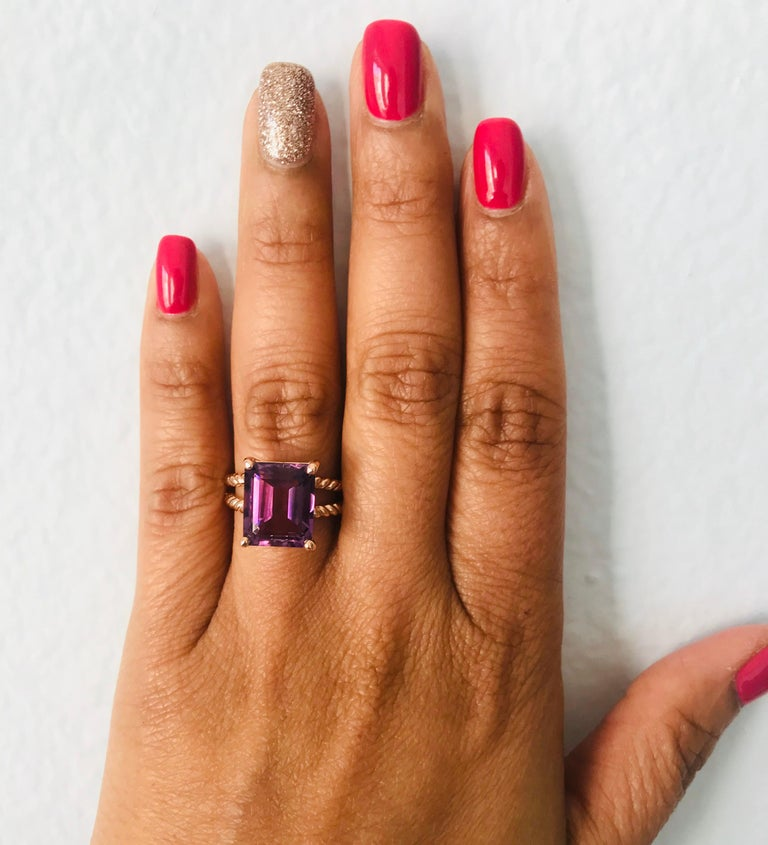 6.70 Carat Emerald Cut Amethyst Rose Gold Solitaire Ring For Sale 2
