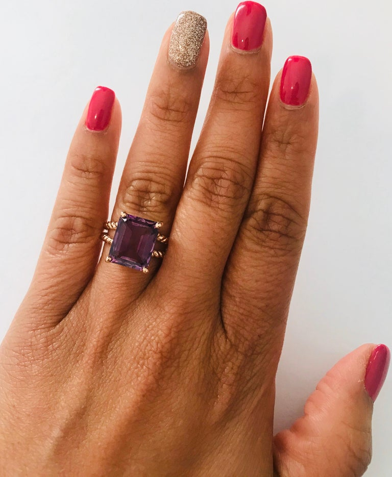 6.70 Carat Emerald Cut Amethyst Rose Gold Solitaire Ring For Sale 3