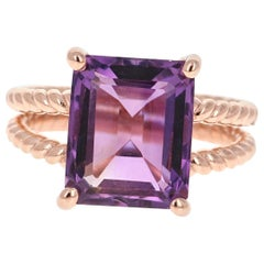 6.70 Carat Emerald Cut Amethyst Rose Gold Solitaire Ring