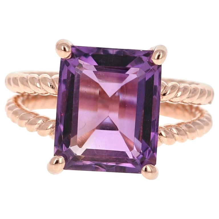 6.70 Carat Emerald Cut Amethyst Rose Gold Solitaire Ring For Sale