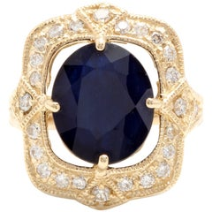 6.70 Carat Exquisite Natural Blue Sapphire and Diamond 14K Solid Yellow Gold