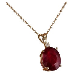 6.70 Carat Natural Red Ruby and Diamond 14 Karat Solid Yellow Gold Necklace