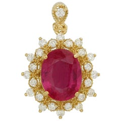 6.70 Carat Natural Red Ruby and Natural Diamond 14K Solid Yellow Gold Necklace