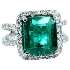 6.70ct Natural Vivid Green Emerald Diamonds Ring 14kt Split Shank Dub Shoulder