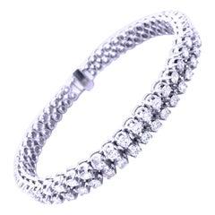 6.71 Karat 98 White Diamond White Gold Setting One of a Kind Tennis Bracelet