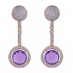 6.72 Carat Amethyst and Diamonds 18 Karat Yellow Gold Dangle Earrings