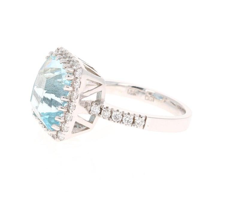 Modern 6.72 Carat Aquamarine Diamond 18 Karat White Gold Cocktail Ring For Sale
