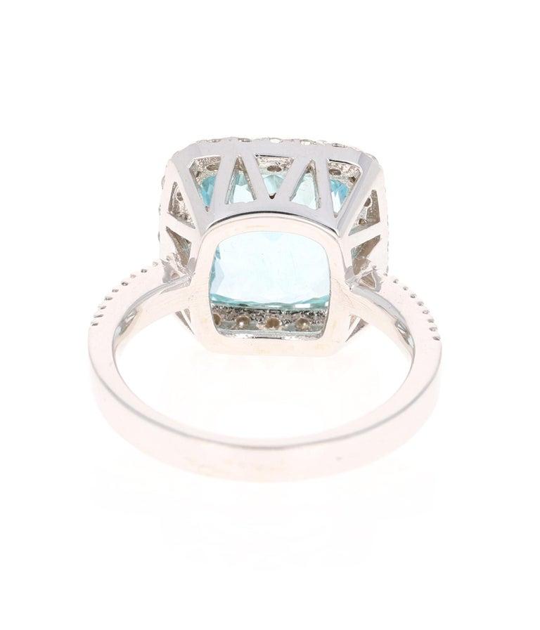 Cushion Cut 6.72 Carat Aquamarine Diamond 18 Karat White Gold Cocktail Ring For Sale