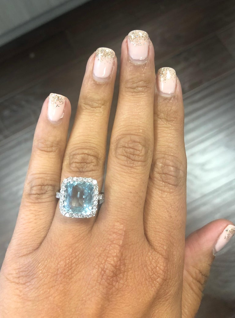 6.72 Carat Aquamarine Diamond 18 Karat White Gold Cocktail Ring In New Condition For Sale In Los Angeles, CA