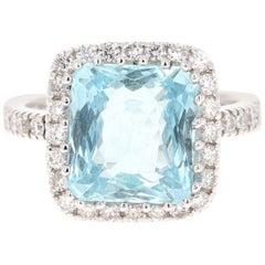 6.72 Carat Aquamarine Diamond 18 Karat White Gold Cocktail Ring