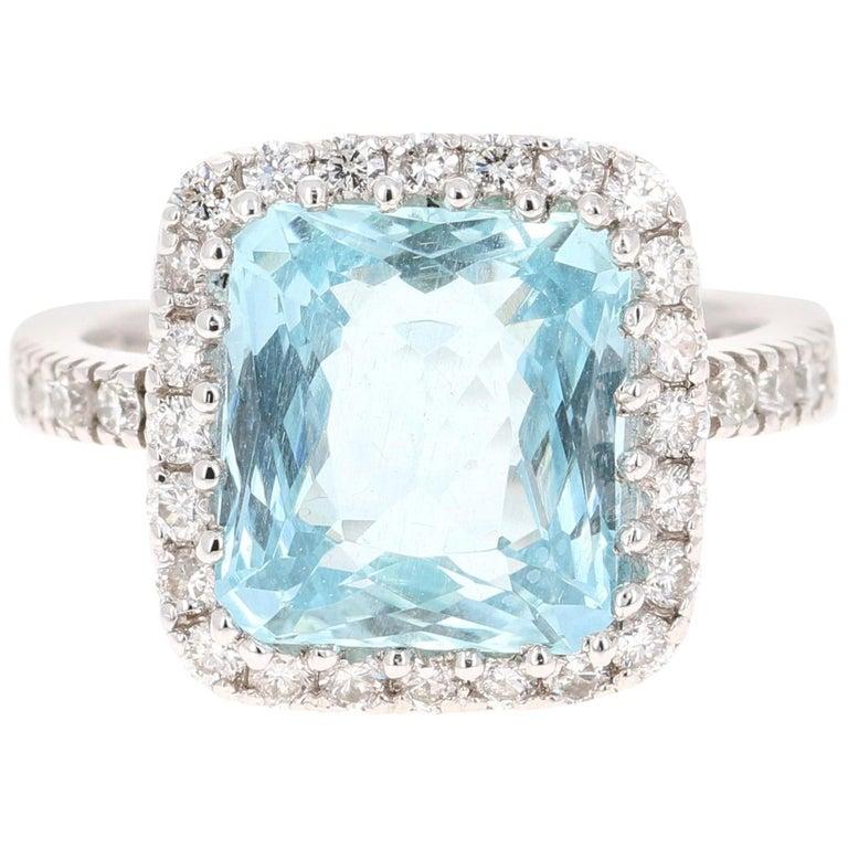 6.72 Carat Aquamarine Diamond 18 Karat White Gold Cocktail Ring For Sale