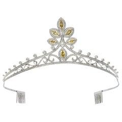 6.72 Carat Natural Fancy Yellow Marquise Cut Diamond and White Diamond Tiara