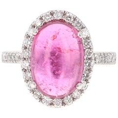 6.72 Carat Pink Tourmaline Diamond 14 Karat White Gold Ring