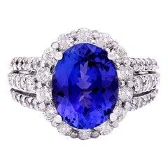 6.72 Carat Tanzanite 18 Karat Solid White Gold Diamond Ring