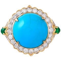 6.72 Carat Turquoise Emerald and Diamond Ring