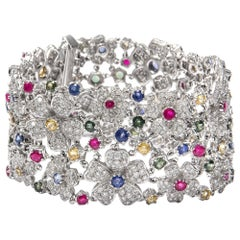 6.72 ct Diamonds and 13.7 ct Blue, Yellow and Green Sapphires Gold Bracelet
