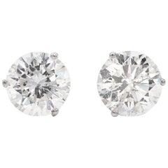 6.73 Carat White Diamond Stud Earrings in 14 Karat White Gold