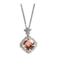 6.74 Carat Morganite and White Diamond Pendant, 0.45 Carat D/E, VVS