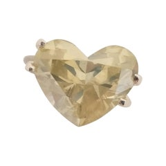 6.74 Carat Natural Fancy Light Yellow Heart Shape Diamond Ring IGI Certified