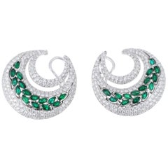 6.74 Carat Total Weight Diamond and Emerald Hoop Earrings