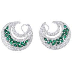 6.74 Carat Total Weight Diamond and Emerald Hoop Earrings