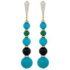 67.40 Carat Turquoise Black Onyx Emerald 18 Karat Yellow Gold Dangle Earrings