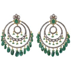 67.41 Carat Emerald Rose Cut Diamond Earrings