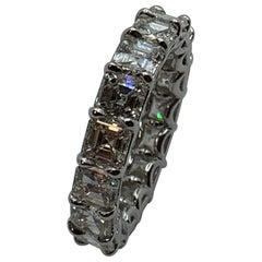 6.75 Carat Asscher Cut Eternity Band Wedding Ring